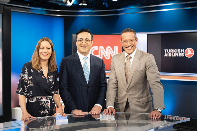 Pictured: Cathy Ibal, Vice President, CNN International Commercial; Ilker Aycı, Turkish Airlines Chairman of the Board and the Executive Committee and Richard Quest
