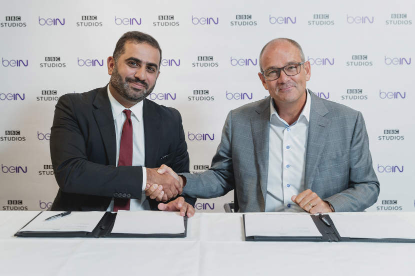 Paul Dempsey, President for Global Markets at BBC Studios, and Yousef Al-Obaidly, Deputy Chief Executive Officer of beIN Media Group, signed the agreement