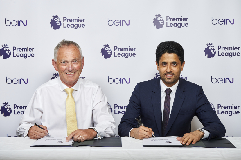 Richard Scudamore, Executive Chairman of the Premier League (L) and Nasser Al-Khelaifi, Chairman and CEO of beIN MEDIA GROUP