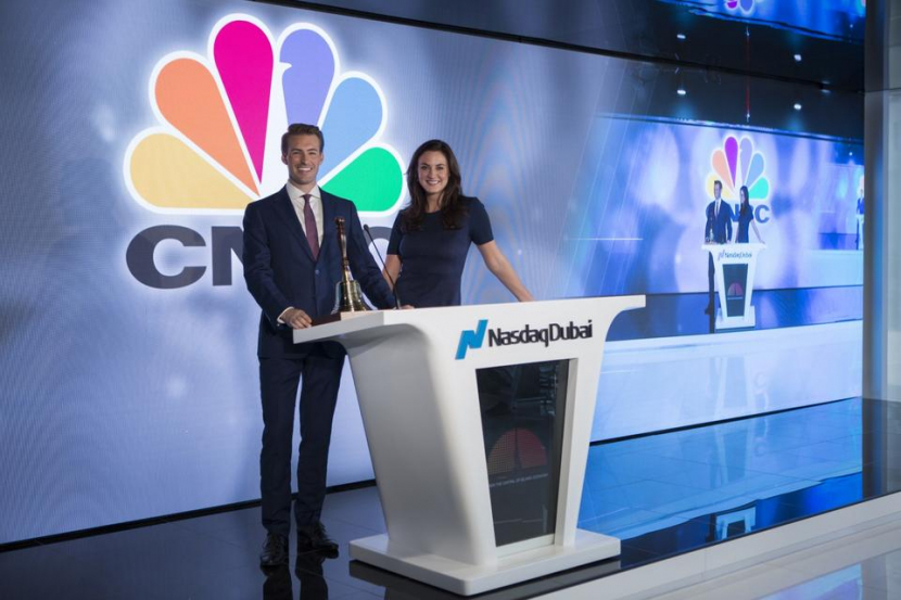 Hadley Gamble and Dan Murphy at the launch of CNBC at Nasdaq Dubai. CNBC will use the new facility to deliver a deeper focus on the Middle East business story.