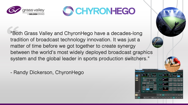 Grass Valley, Chyron Hego, Broadcast graphics, Sports production, Video production, Production switcher, Live sports broadcast, Event venue, Control interface