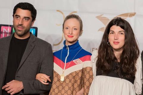 L-R: Luxor actors Karim Saleh and Andrea Riseborough with director Zeina Durra