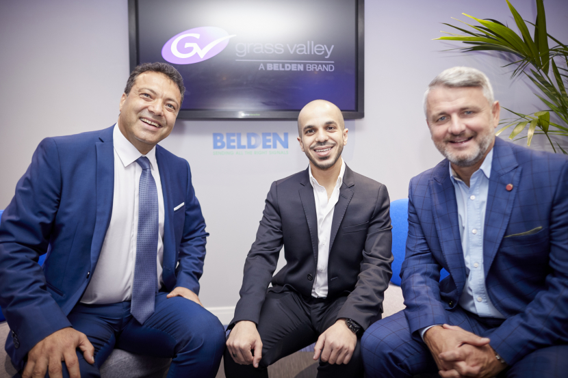 Antonie Aouad, Regional Sales Manager for Grass Valley Middle East and Africa (L)  and Paul Turner from Belden Uk with Sultan Al Muheisen, CEO of ALAMIYA (Centre)