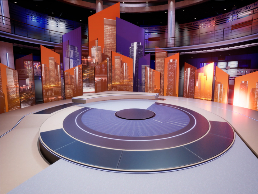 """The studio set for Sky News Arabia's new show 'Timeline"""" uses the latest virtual reality and augmented reality technologies introduced to the newsroom for the first time in the region."""