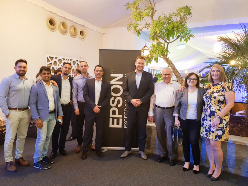 Jeroen van Beem, Director of Sales, Epson MEA (4th from Right) and Nicolas M Kyvernitis, MD, NMK(3rd from Right) with Epson and NMK team members