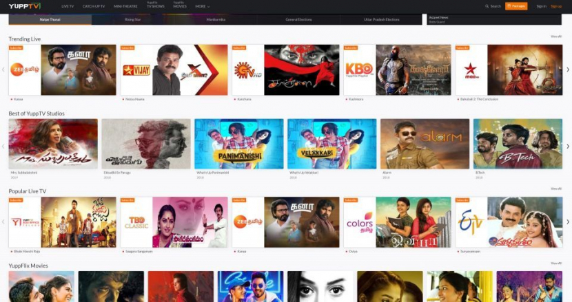 YuppTV has over 25,000 hours of entertainment content catalogues in its library across all genres including movies, series, cricket sports, TV shows, kids, and news.
