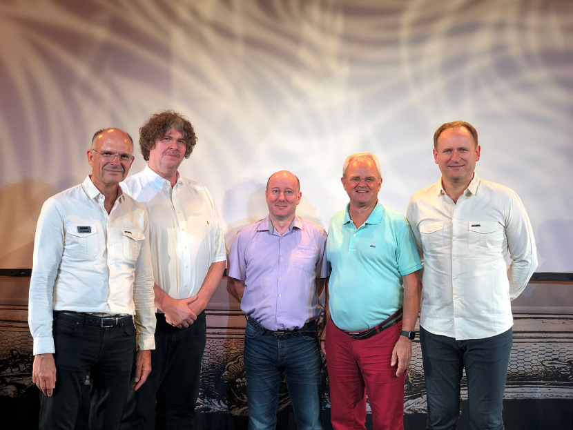 Ingo Dombrowski (Robe key account manager for Europe), David B. Scherz (CEO ASL Electronic AG/SA), Sébastien Wira (product manager ASL Electronic AG/SA), Harry von den Stemmen (Robe's international sales director) and Josef Valchar (CEO of Robe lighting).