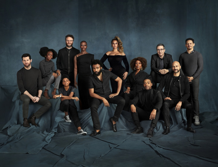 """Check out the voice talent from Disney's """"The Lion King"""" together for the first time in a new cast photo. Pictured are Billy Eichner (Timon), Shahadi Wright Joseph (Young Nala), JD McCrary (Young Simba), Seth Rogen (Pumbaa), Florence Kasumba (Shenzi), Donald Glover (Simba), Beyoncé Knowles-Carter (Nala), Alfre Woodard (Sarabi), Chiwetel Ejiofor (Scar), John Oliver (Zazu), Keegan-Michael Key (Kamari) and Eric André (Azizi)."""