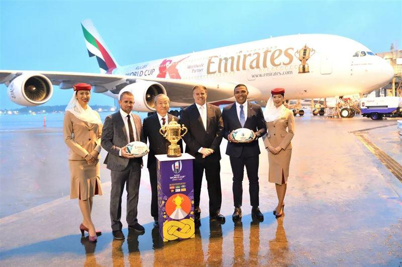 Emirates airline is one of Rugby World Cup's worldwide partners.