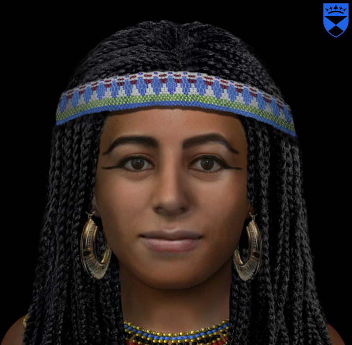The reconstructed face of head No 0080 Dr Rynn claims its a good enough likeness for her friends and family to recognise her  In a newly excavated tomb archaeologists discover at least thirty mummies Dr Christopher Rynn CAHID Dundee University.