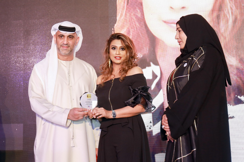 Yasser Al Gargawi, chairman of Dubai National Theater and Director of Programs & Partnerships of the Ministry of Tolerance; Zenofer Fathima; and, Laila Rahall, VP of Voice Magazine.