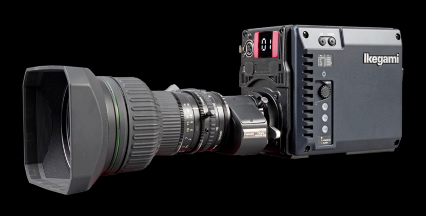 A front-left perspective of the Ikegami UHL-43 compact HDR camera.