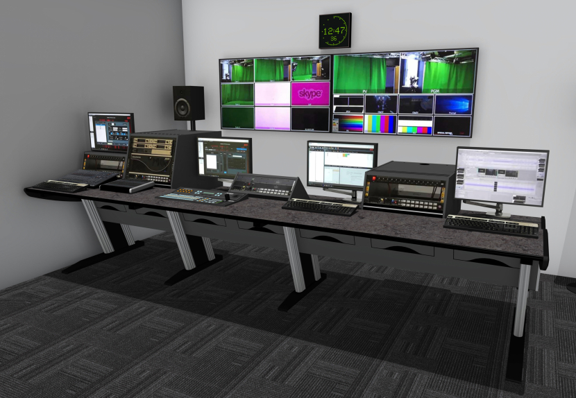 Four-operator forward production control desk from the Custom Consoles Module-R series.