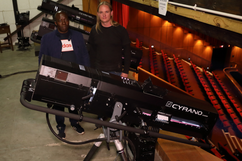 DWR's Kevin Stannett with Enos Ramoroko from Joburg Theatre and the new RJ Cyrano followspots installed in The Mandela Theatre, Johannesburg.