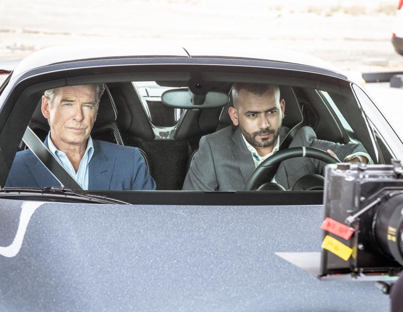 Pierce Brosnan alongside RAmi Jaber while filming The Misfits.