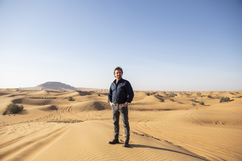 Hammond in the Dubai desert while filming Discovery's new show BIG.