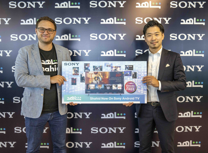 Oleg Nesterenko, marketing director, Shahid and Shuichi Mugitani, head of marketing, Sony Middle East and Africa and Olannounce a partnership that features Shahid App on Sony Bravia 4K Android TVs.