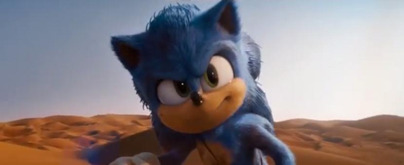 A screengrab of Sonic running at full speed through the Abu Dhabi Desert