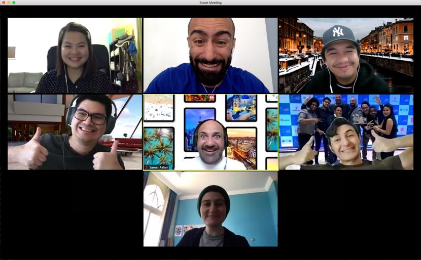 Alaa Akawi with members of his jubilant team.