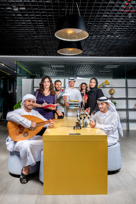 A BTS glimpse of 'Atyaaf' a TV magazine show that sheds light on emerging local creative talents in the UAE and the Middle East that's being produced by Art Format Lab.