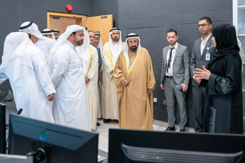 The Al Wousta Channel Opening earlier this year. (From L to R) Mohamed Hassan Khalaf, General Manager; His Highness Sheikh Sultan bin Muhammad Al Qasimi, Ruler of Sharjah, and Aisha Alzareef, broadcast technology and information system director at Sharjah Broadcasting Authority.